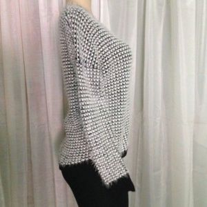 REWIND Sweater S Black/White Fuzzy Knit